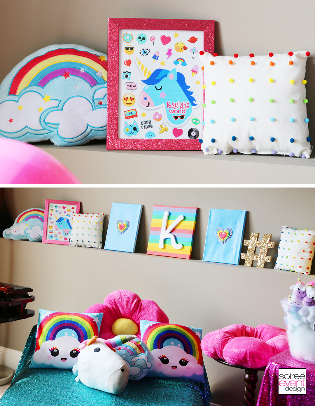 Rainbow Unicorn Emoji Party Ideas - Rainbow Decorations