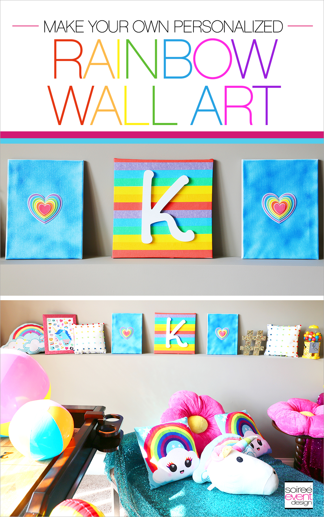 Rainbow Unicorn Emoji Party Ideas - Rainbow Wall Art