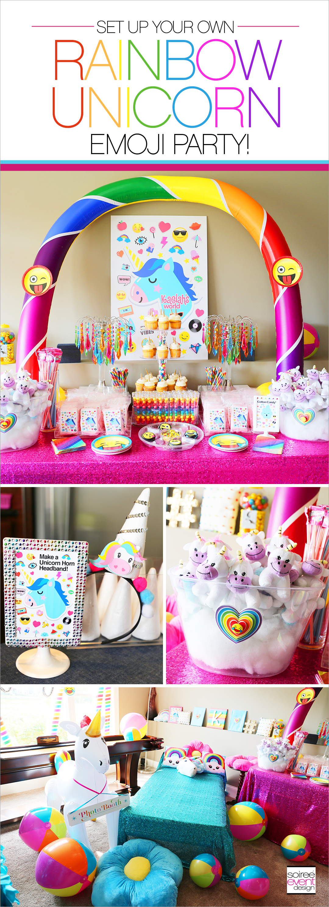 Rainbow Unicorn Emoji Party Ideas - Soiree Event Design