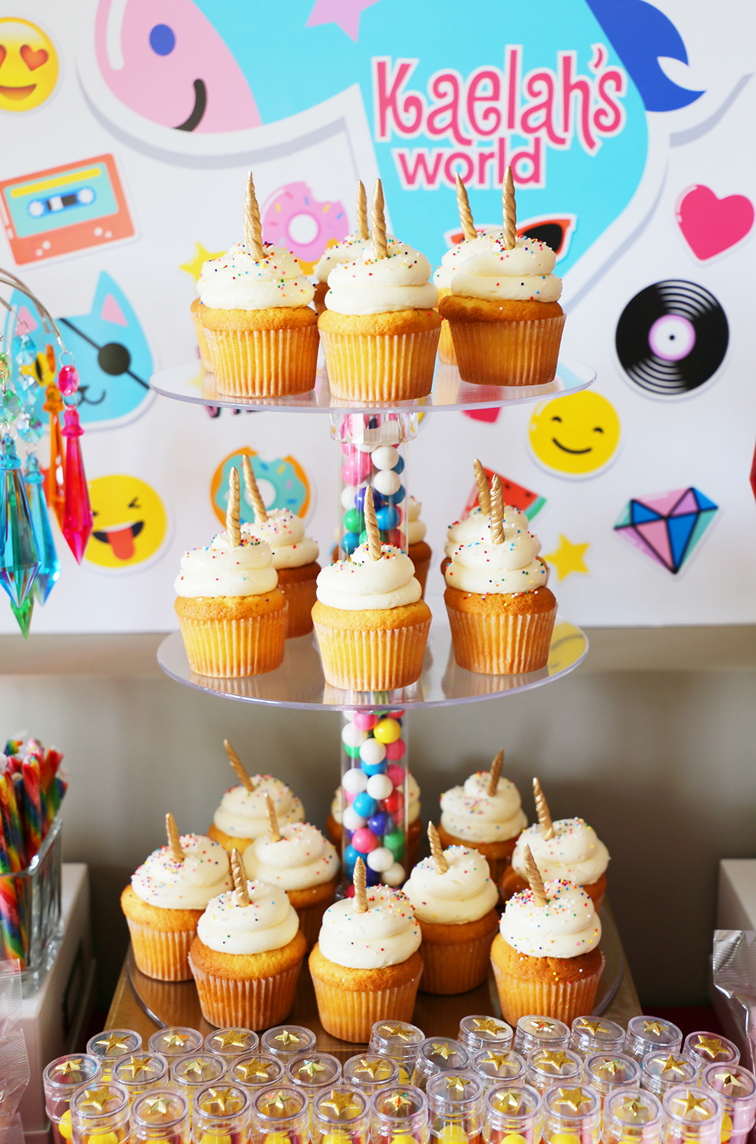 Rainbow Unicorn Emoji Party Ideas - Unicorn Cupcakes
