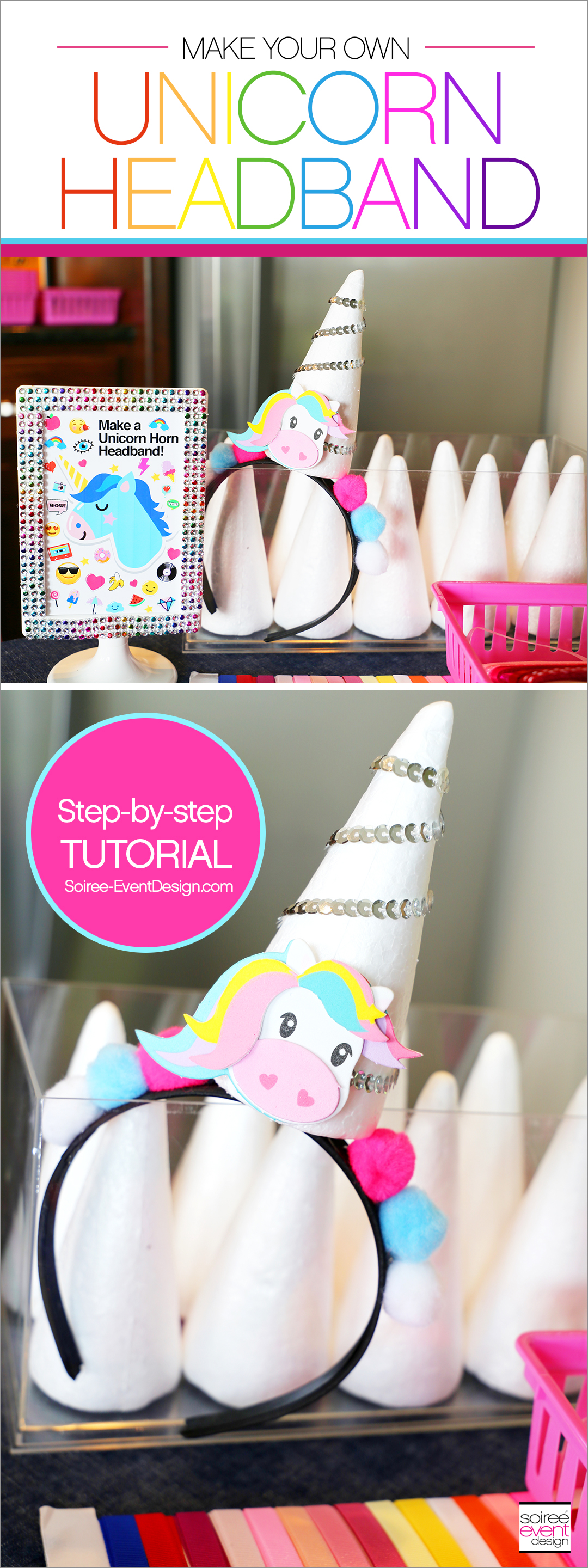 Rainbow Unicorn Emoji Party Ideas - Unicorn Headbands