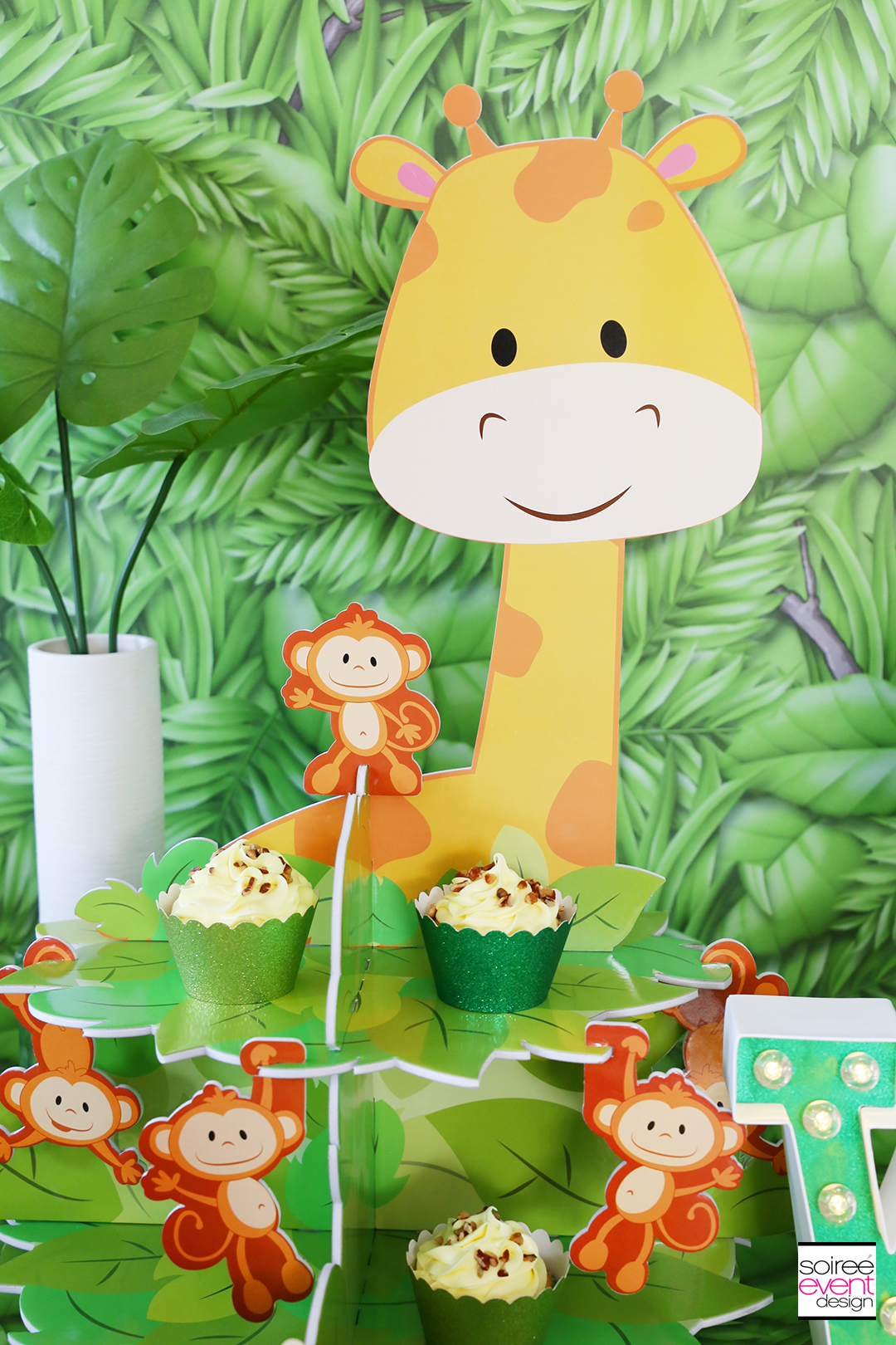 Safari First Birthday Party Ideas - Banana Crunch Cupcakes