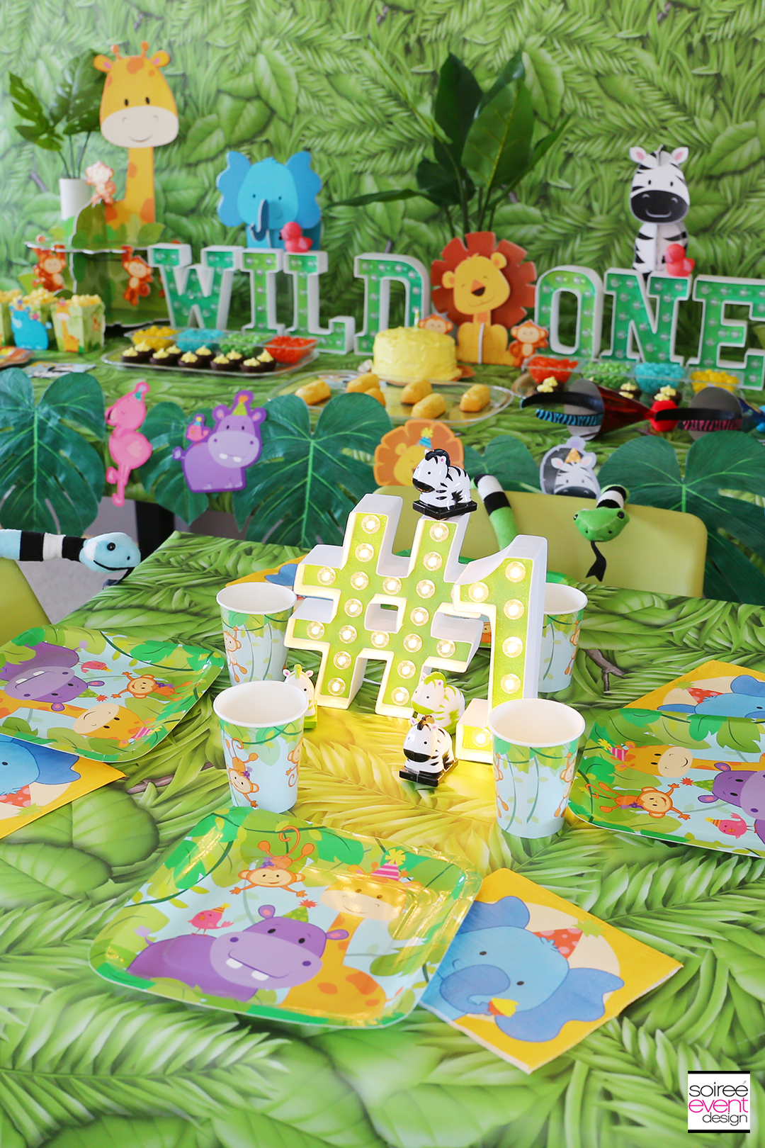 Wild ONE Safari First Birthday Party Ideas - Dining Table