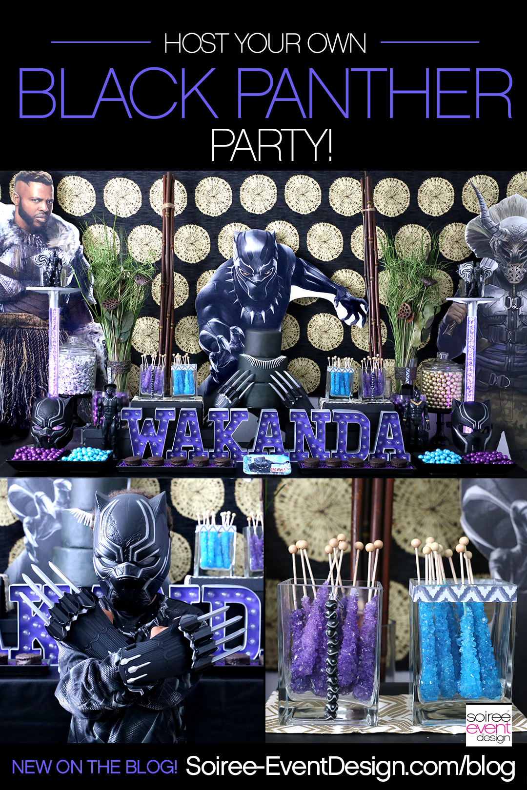 Marvel Black Panther Party Ideas including a stunning Black Panther Candy Table