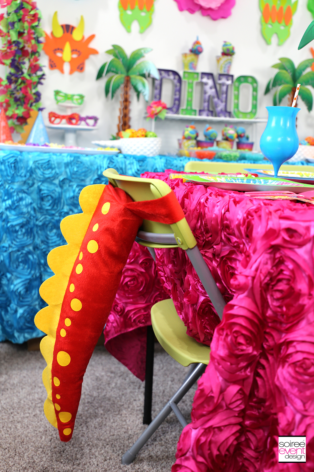 Girly Dinosaur Party Ideas - Dinosaur Tail Chairs
