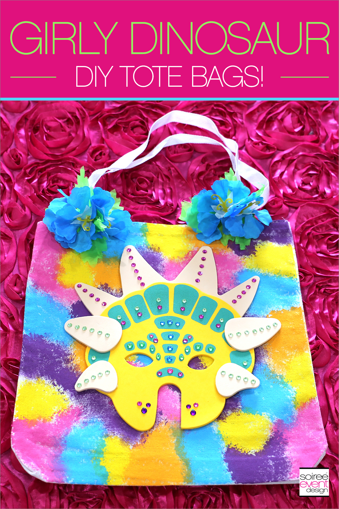 Girly Dinosaur Party Ideas for Girls - Dinosaur Tie Dye Tote Bags