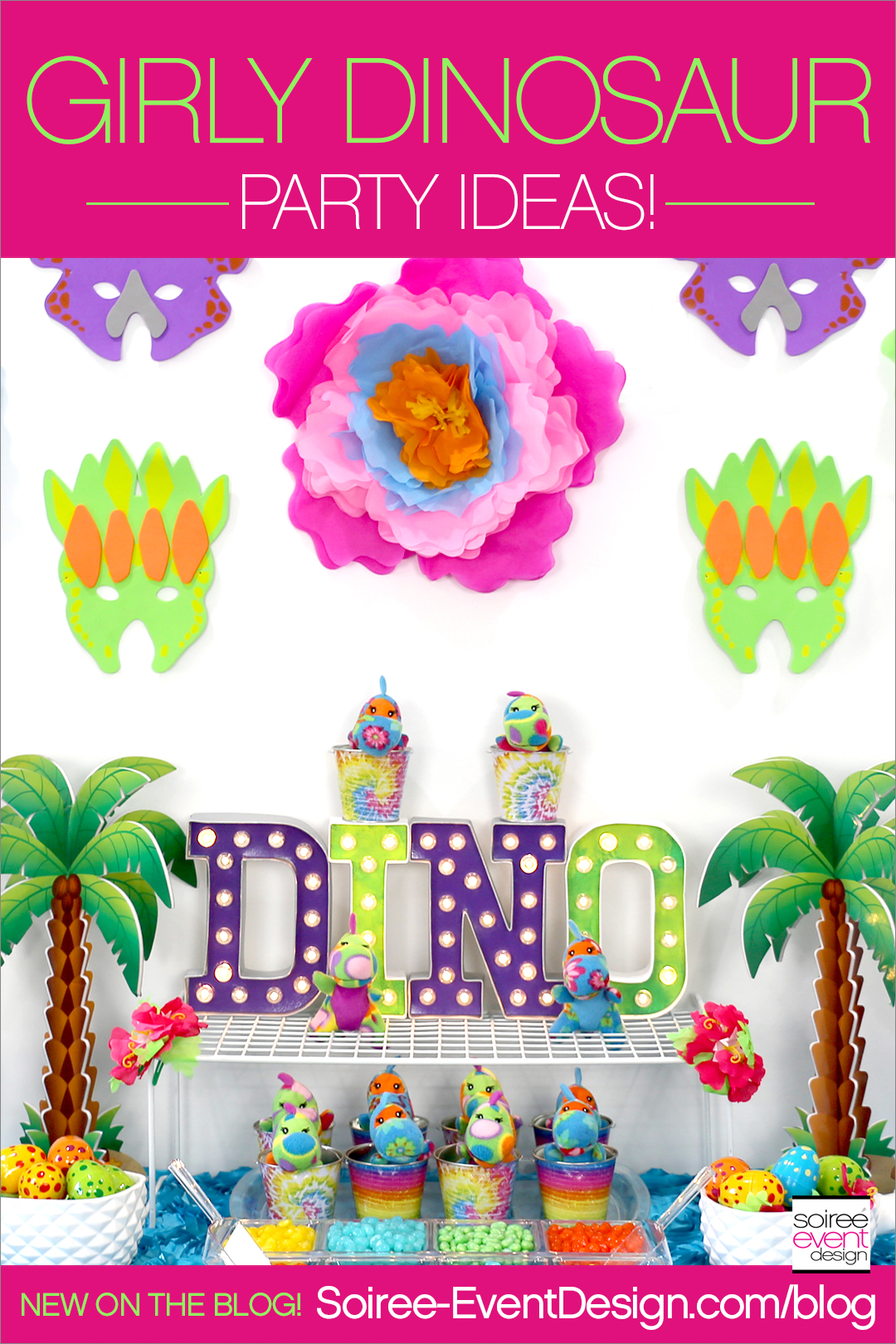 Girly Dinosaur Party Ideas For Girls including a Girly Dinosaur Candy Table, Dress Up Bar & Dinosaur Tail Chairs!