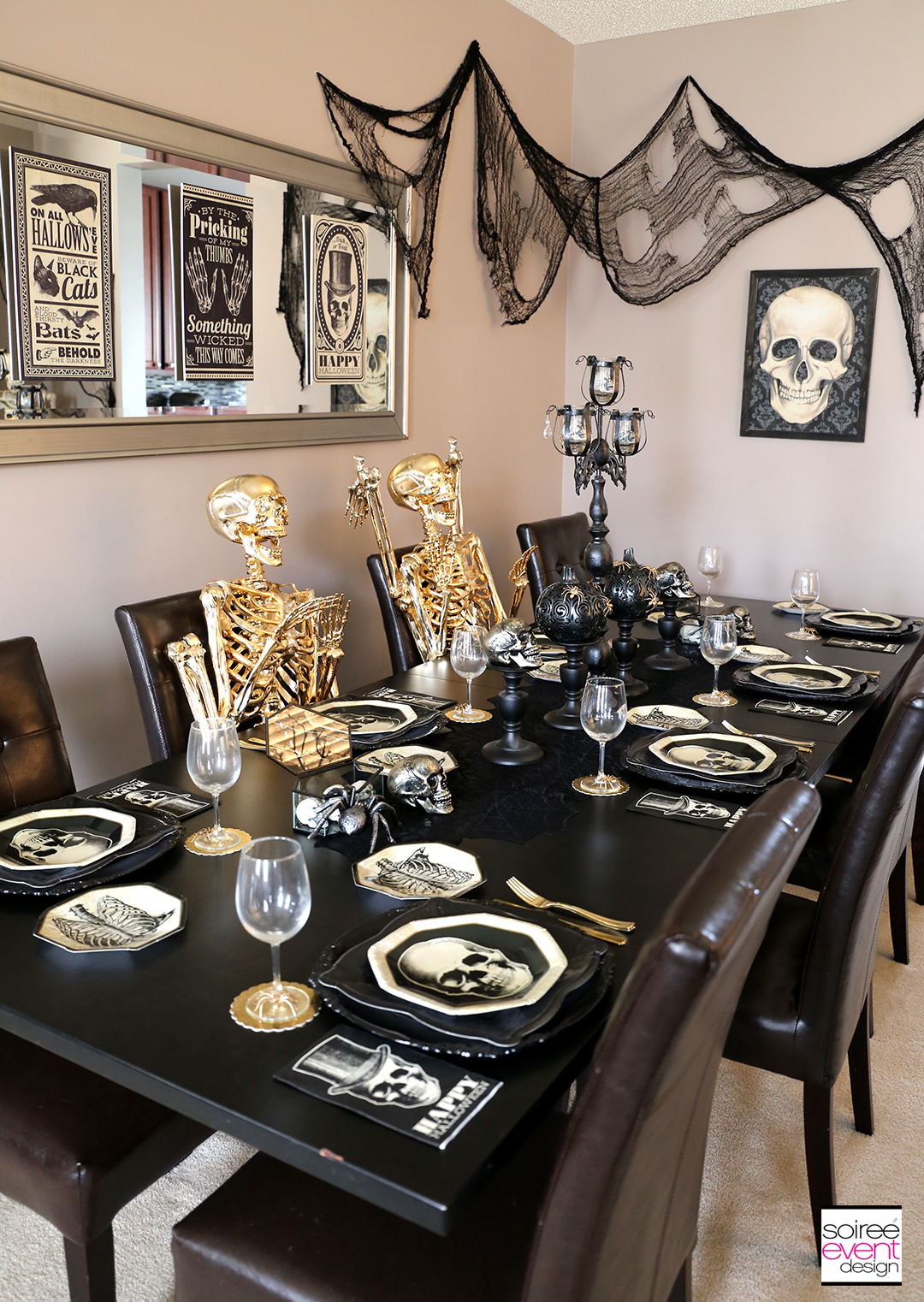 Black and Gold Halloween Decorating Ideas - Dining Table 2