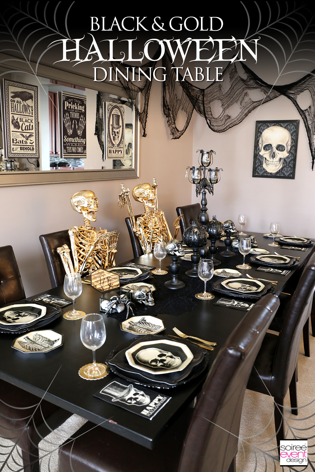 Black and Gold Halloween Decorating Ideas , Soiree Event Design