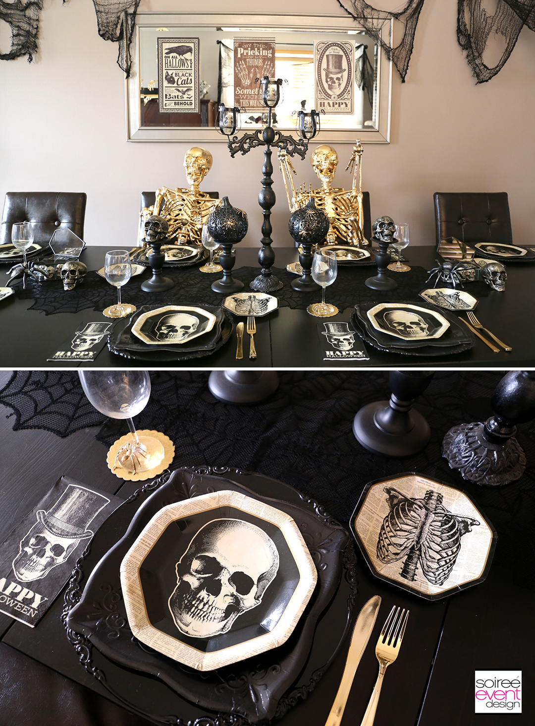 Black and Gold Halloween Decorating Ideas - Dining Table