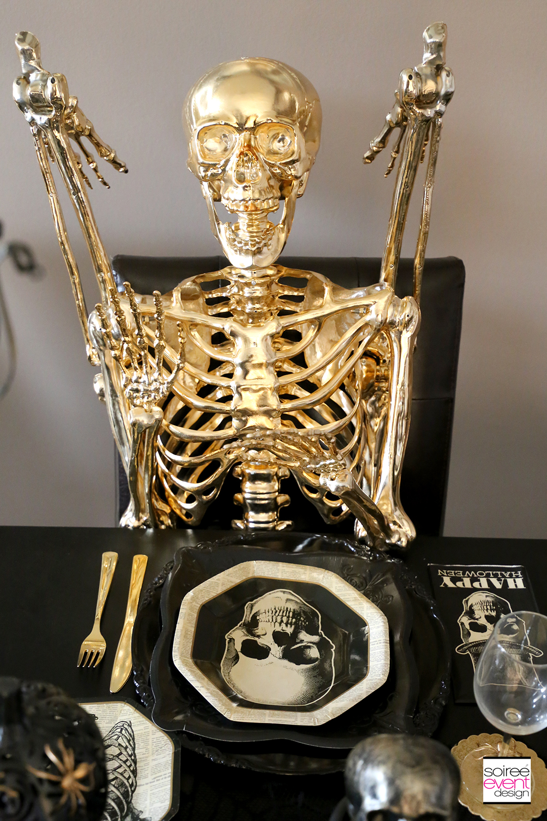 Black and Gold Halloween Decorating Ideas - Full Size Gold Skeleton