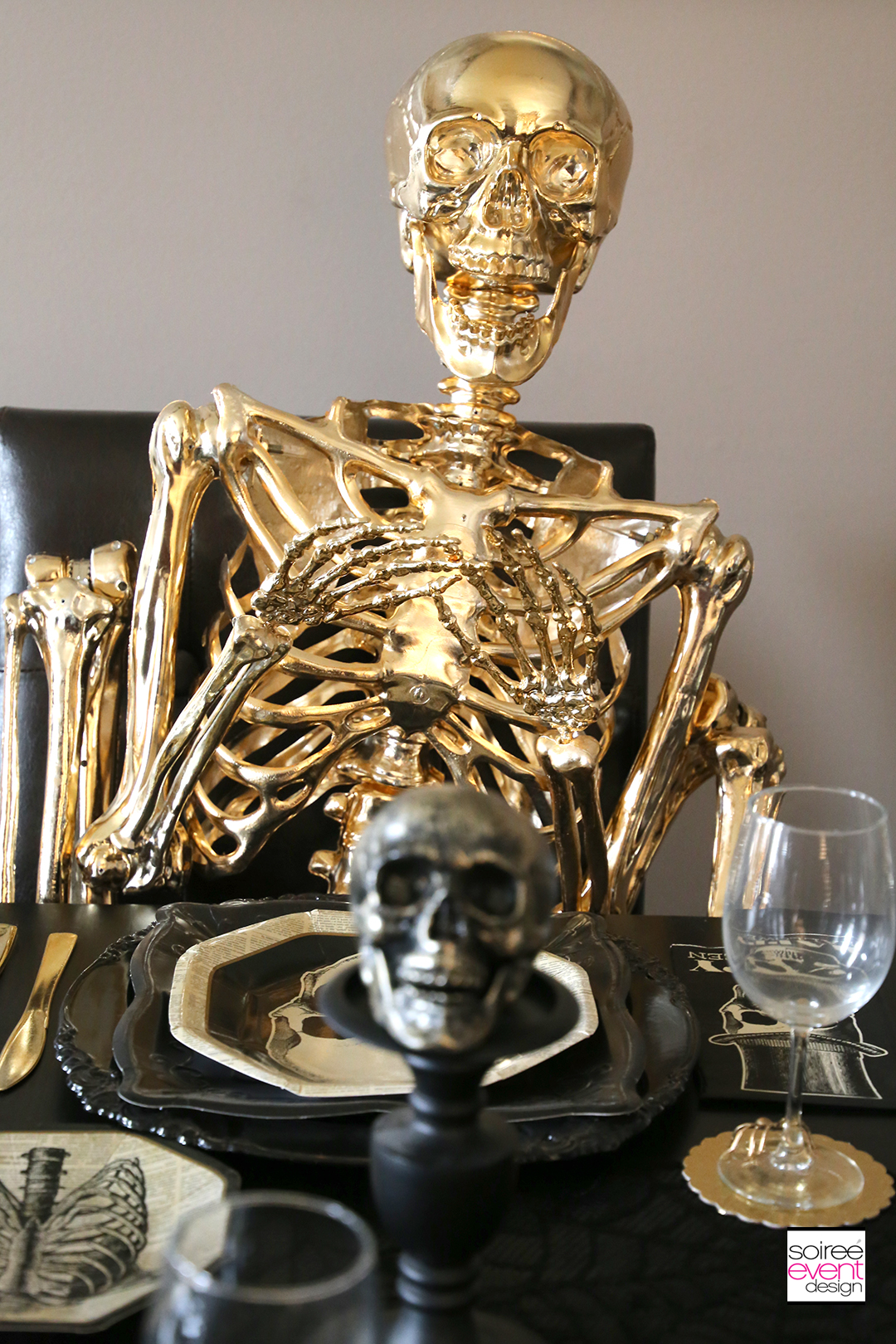Black and Gold Halloween Decorating Ideas - Gold Skeleton 2