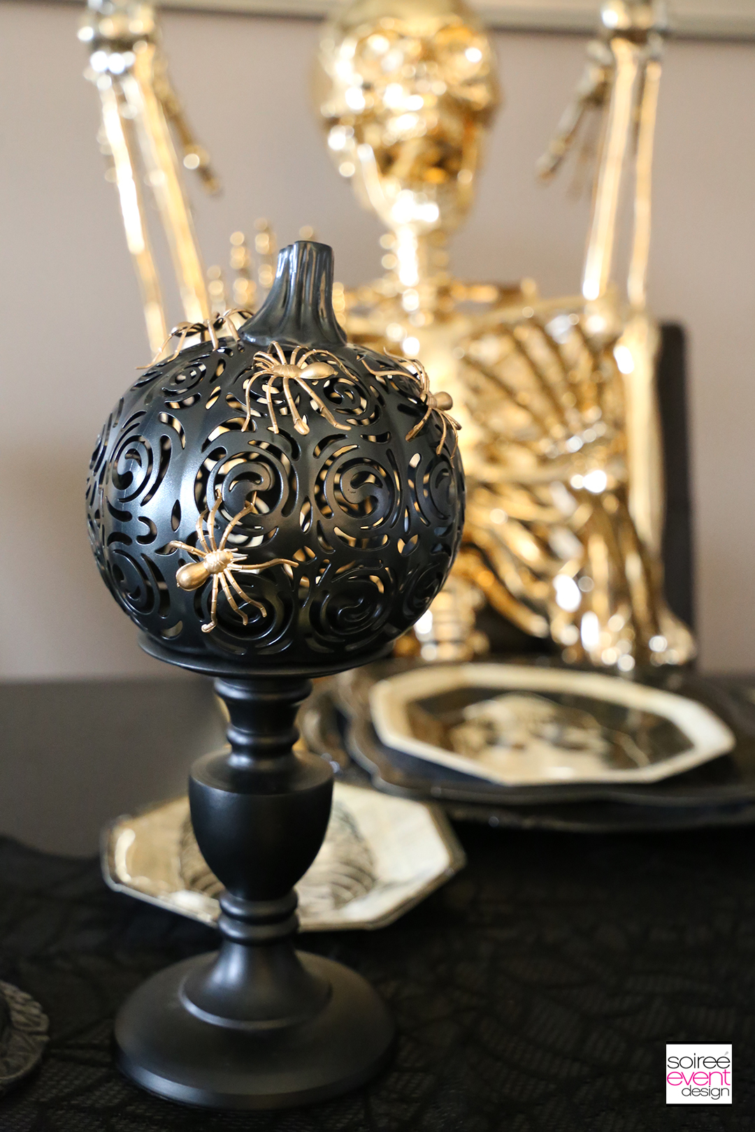 Black and Gold Halloween Decorating Ideas - Gold Spiders