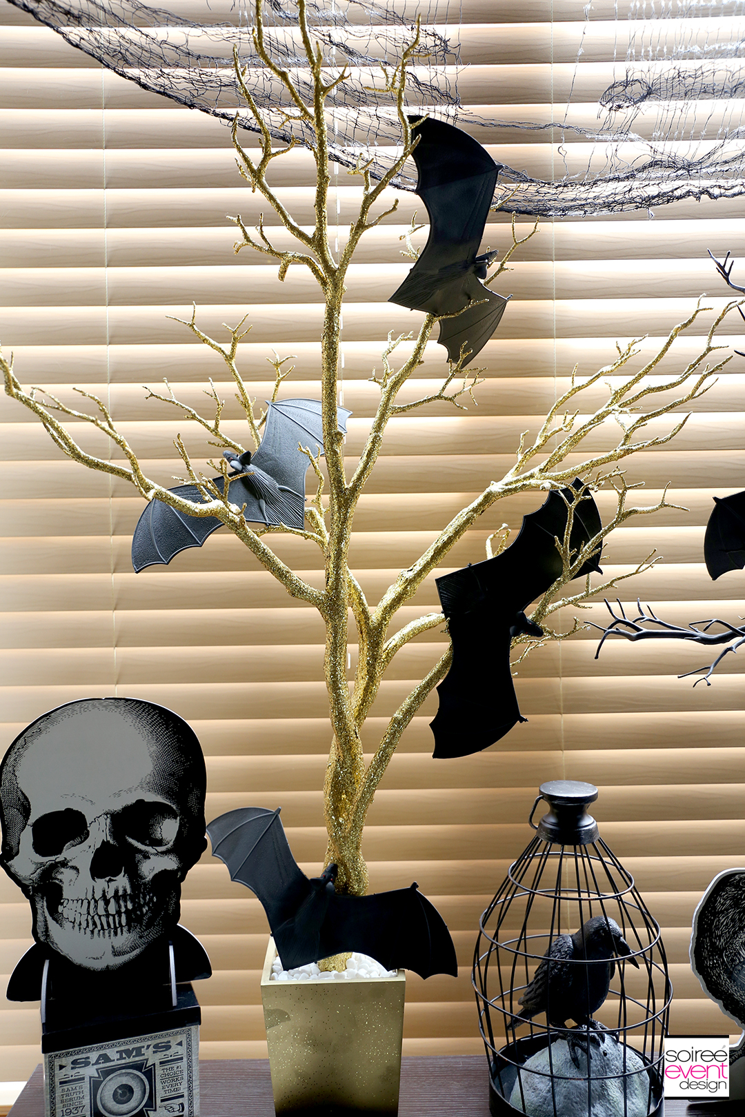 Black and Gold Halloween Decorating Ideas - Gold Tree Centerpiece