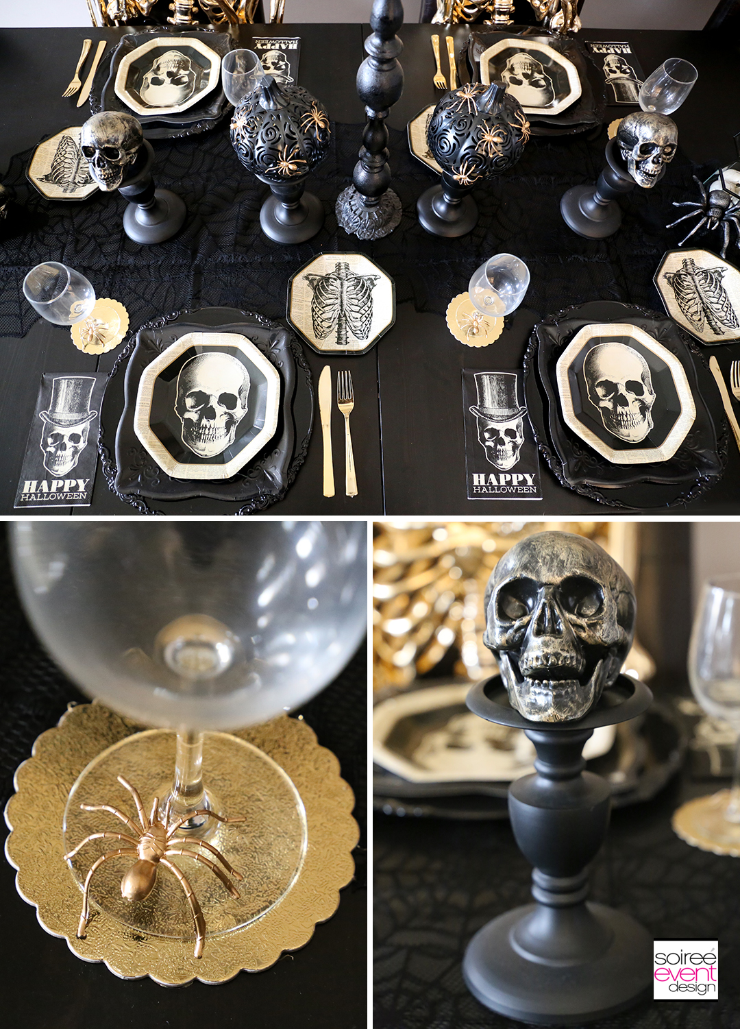 Black and Gold Halloween Decorating Ideas - Tablescape