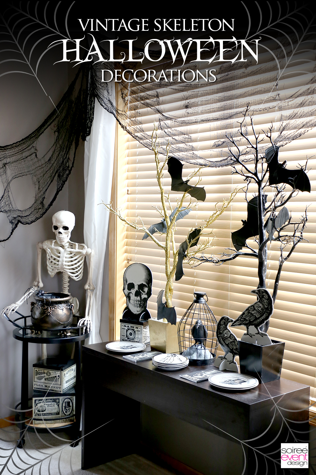 Black and Gold Halloween Decorating Ideas - Vintage Skeleton