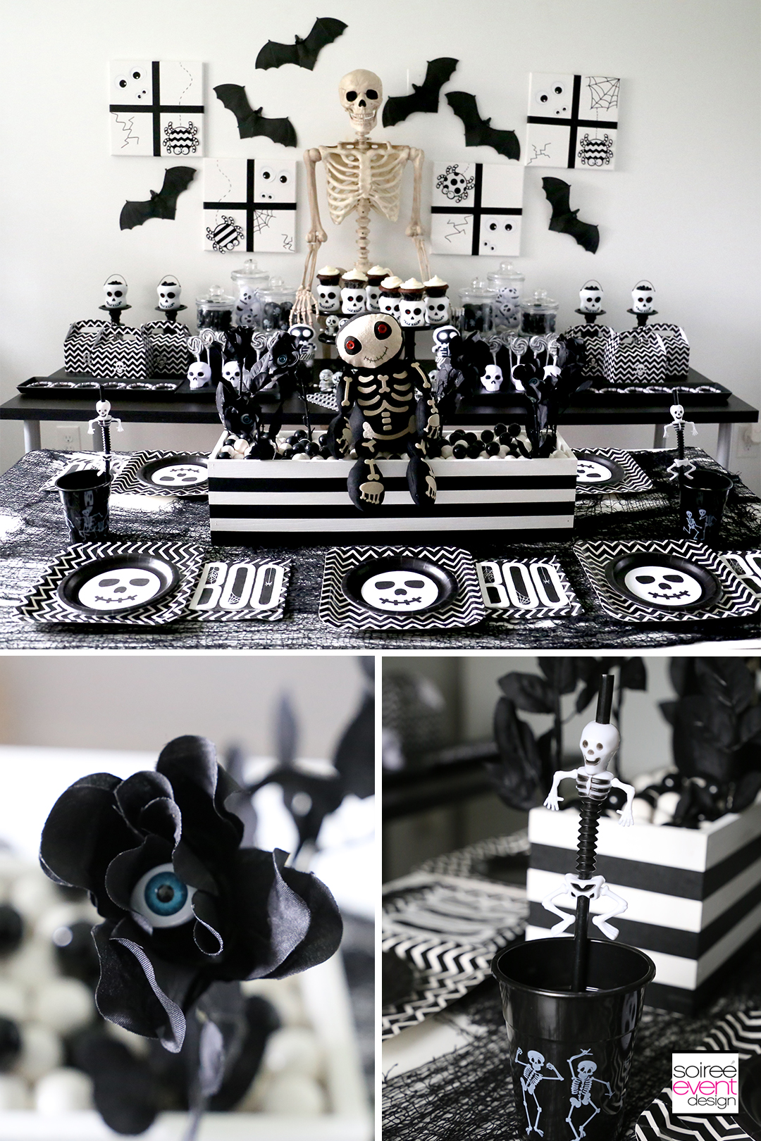 Black and White Halloween Party for kids - Kids Table