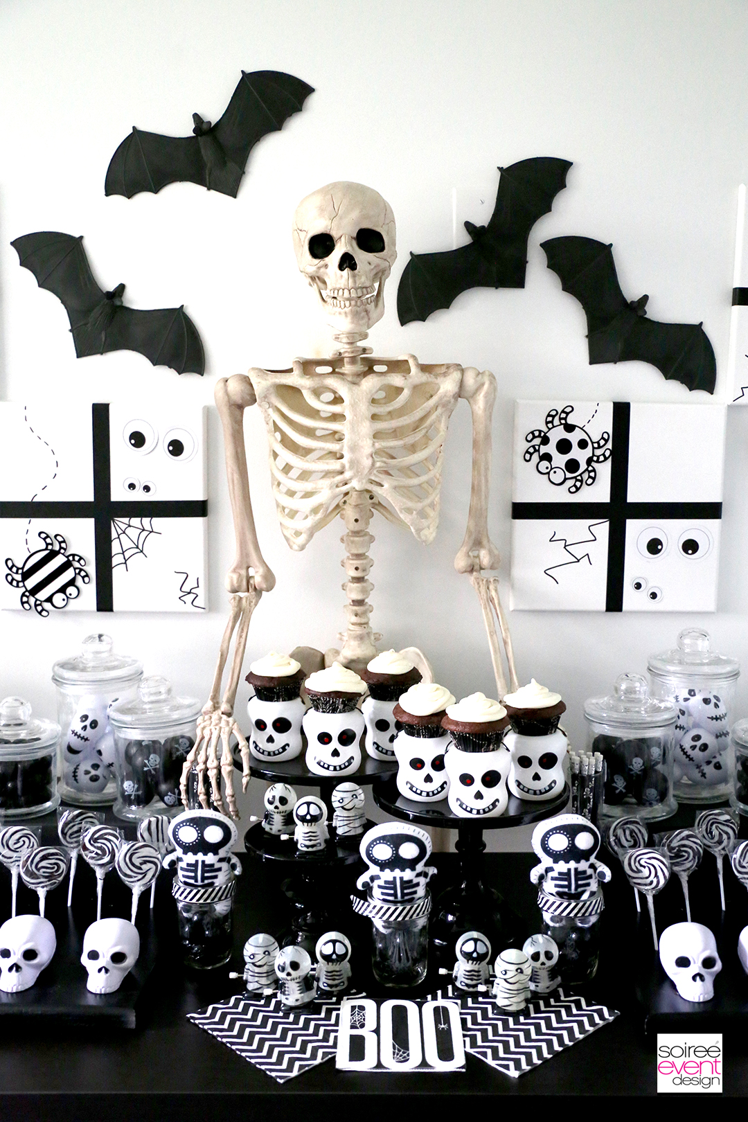 Black and White Skeleton Halloween Candy Table
