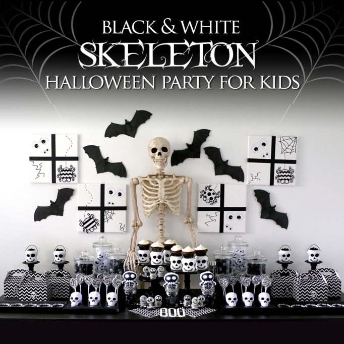 Black and White Skeleton Halloween Kids Party Ideas