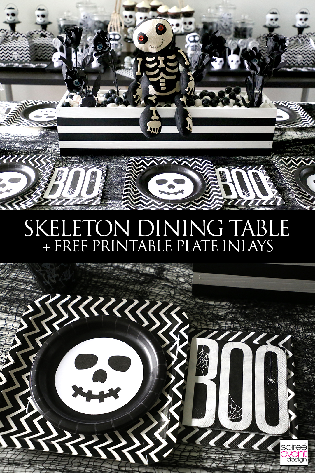 Black and White Skeleton Halloween Party Table