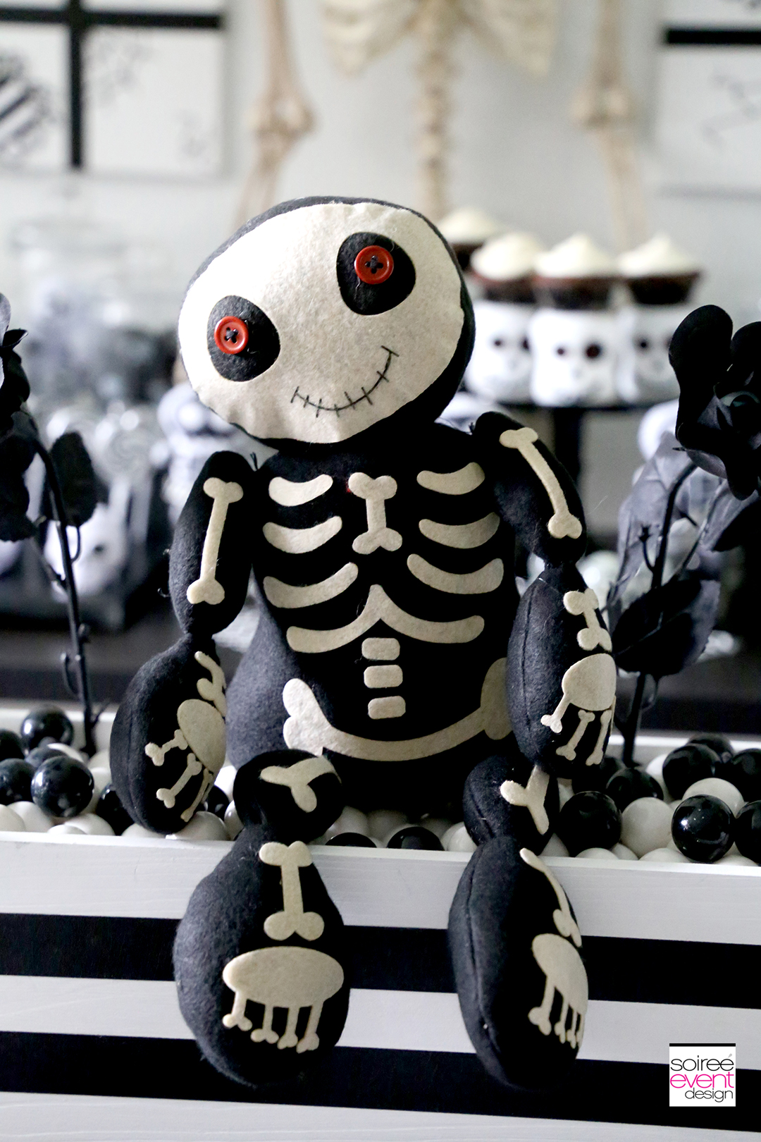 Black and White Skeleton Halloween Party for Kids - decorations