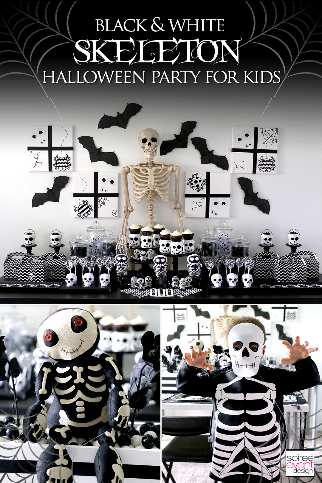Check out this spooky cute black and white Skeleton Halloween Party for kids featuring a stunning candy table, Trick-or-Treat cupcakes + free printables!