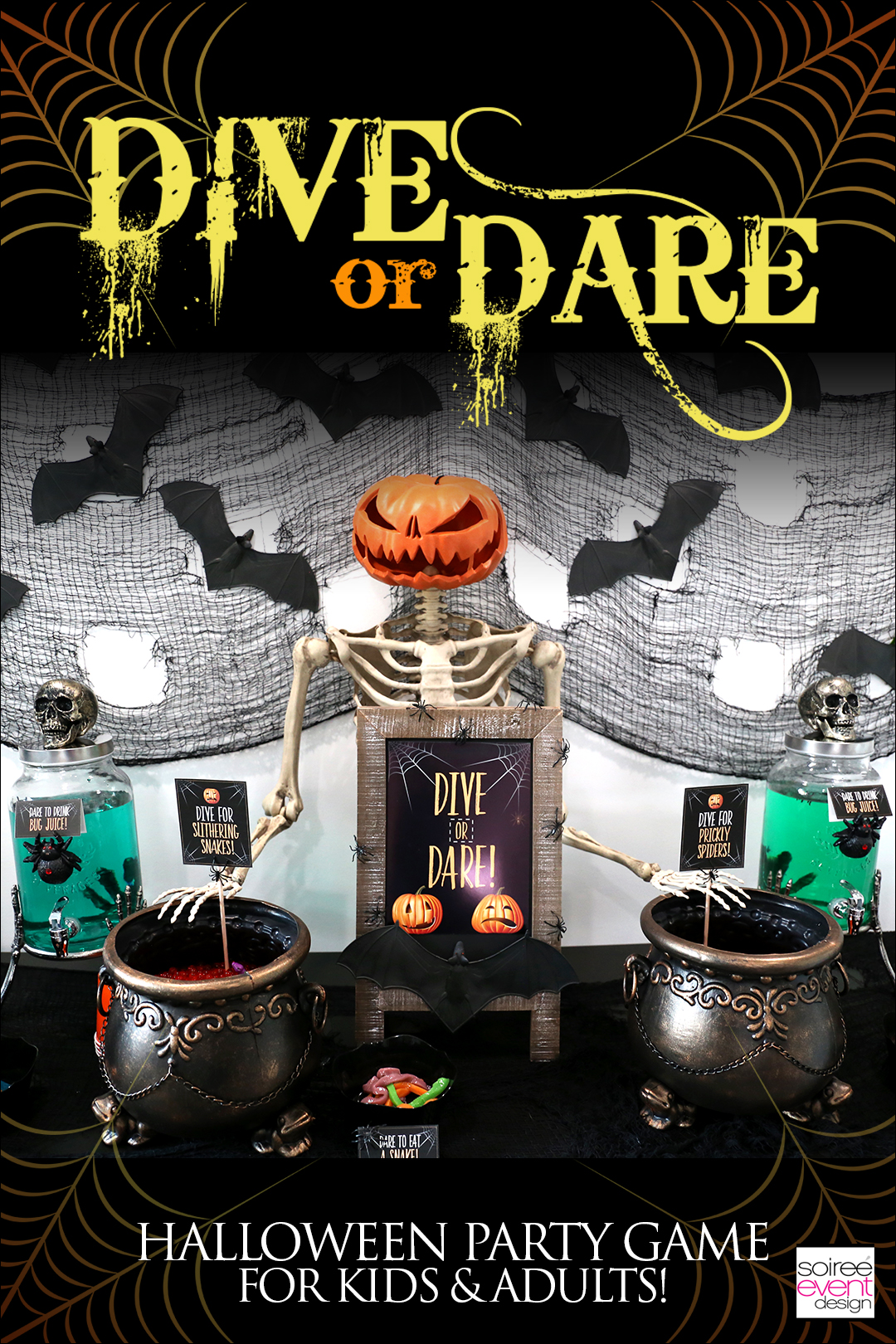 Are you looking for spooky Halloween party games that are fun for both kids and adults? Then this is it! Check out how to play and set up Dive or Dare!  It\'s fun AND looks amazing at your party!