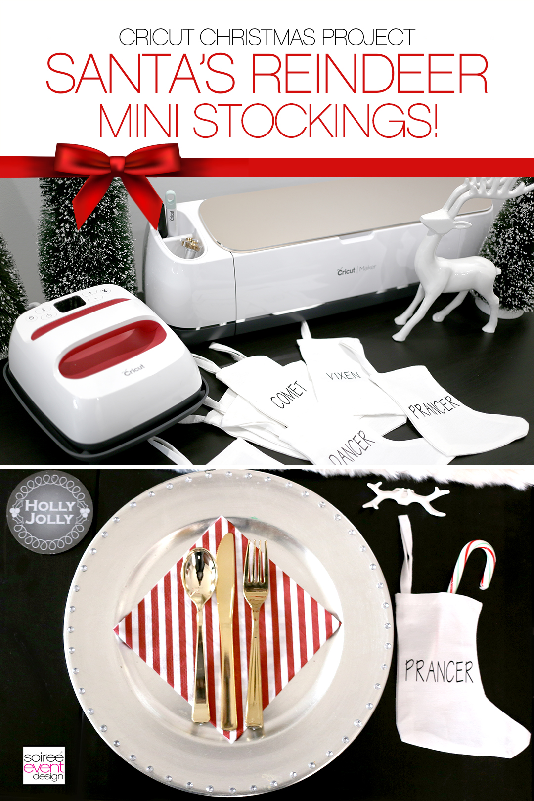 Santa Reindeer Mini Stockings with Cricut - PINTEREST