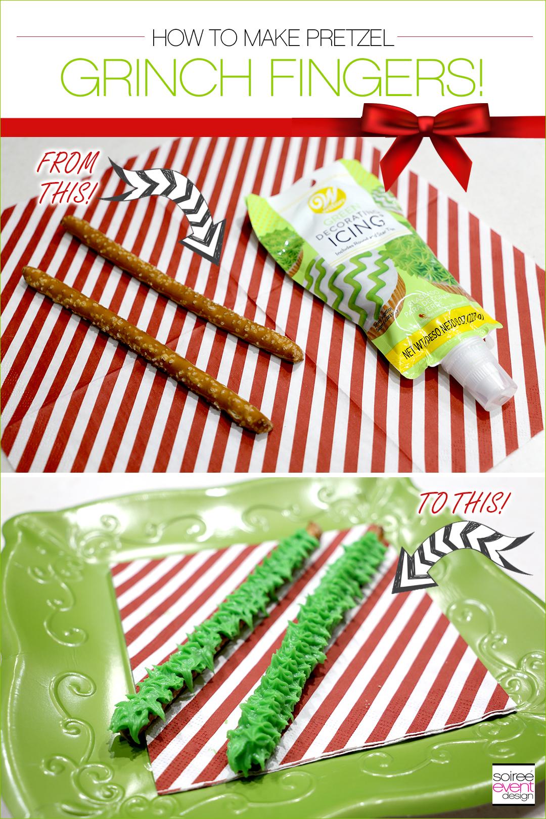 Grinch Dessert Ideas - Grinch Fingers Pretzels tutorial