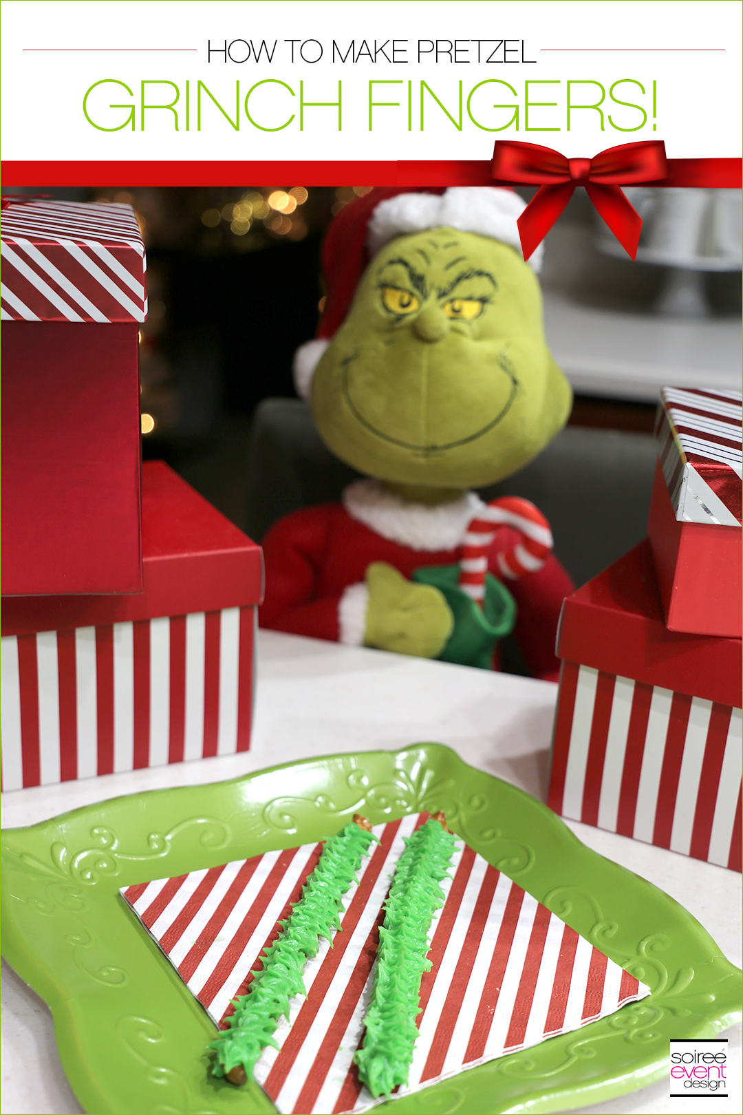Grinch Dessert Ideas - Grinch Fingers Pretzels