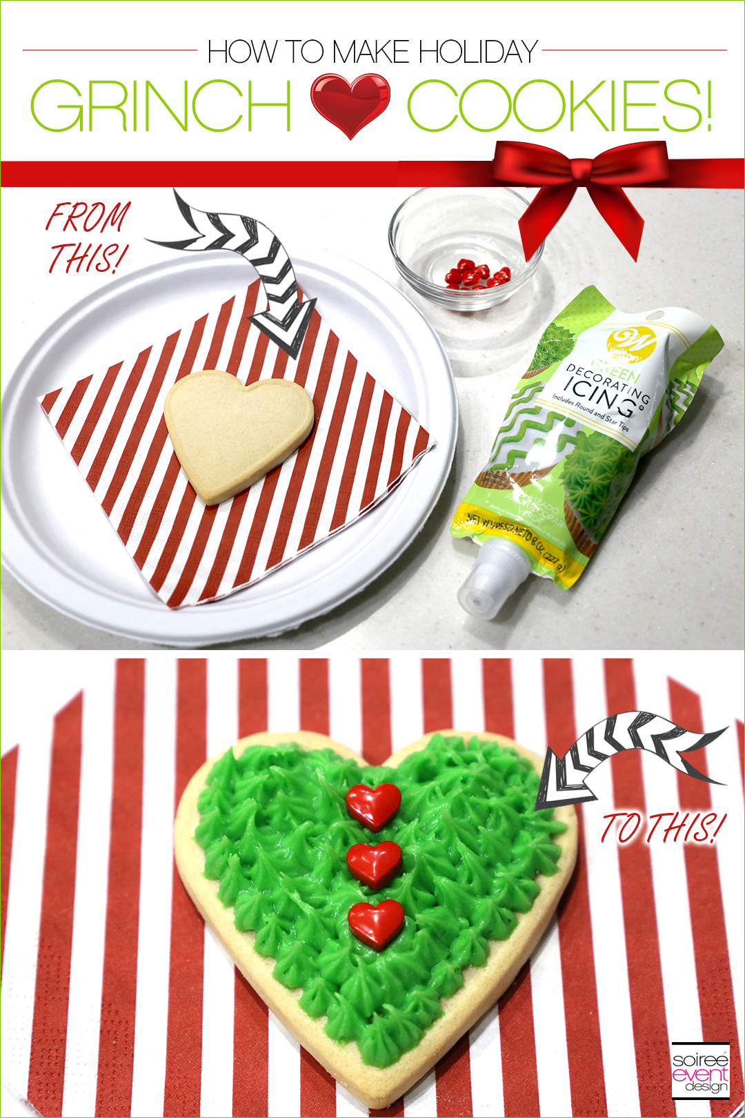 Grinch Dessert Ideas - Grinch Heart Cookies Tutorial