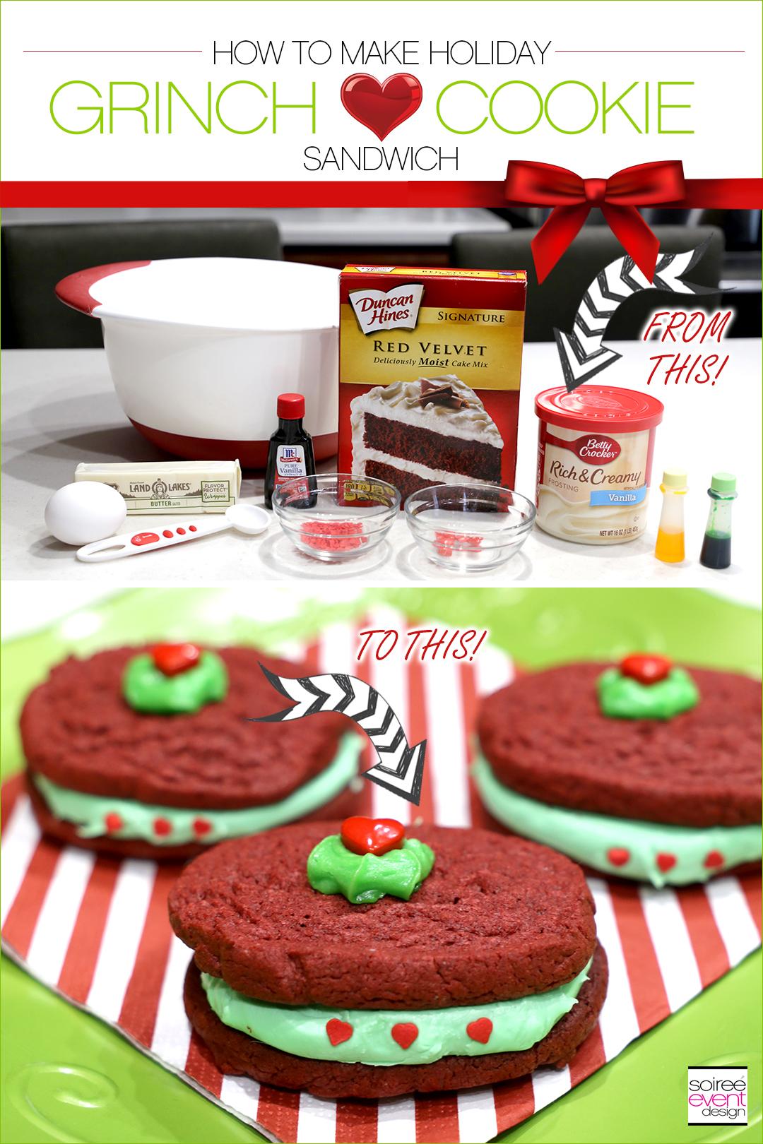 Grinch Dessert Ideas - Grinch Heart Sandwich Tutorial