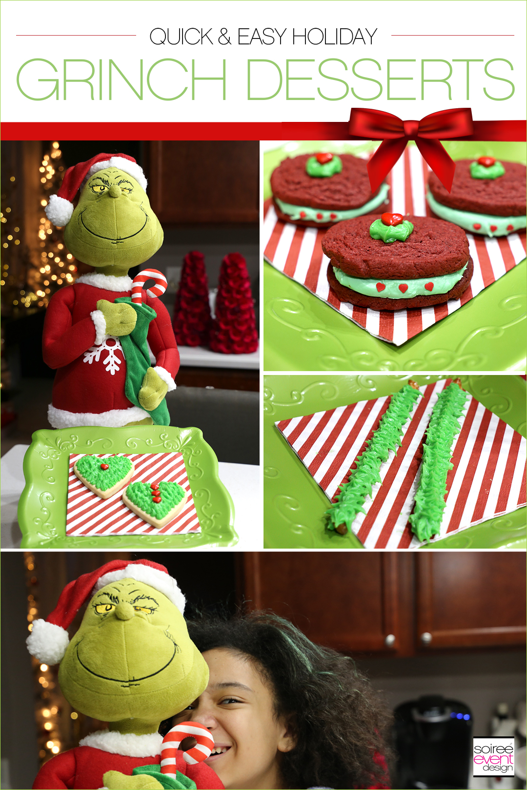Check out these easy to make Grinch Dessert Ideas including Grinch Fingers Pretzel Rods, Grinch Heart Cookies and Grinch Heart Cookie Sandwiches.